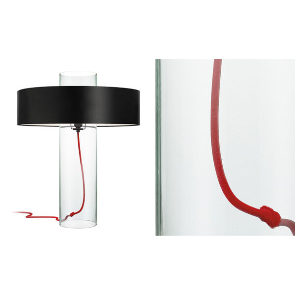 Level Clear Glass One-Light Table Lamp with Black Shade, image 2