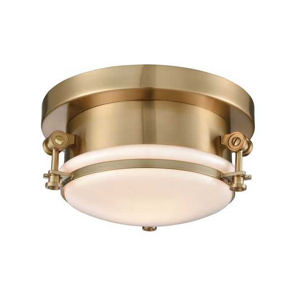 Riley Satin Brass One-Light Flush Mount, image 1
