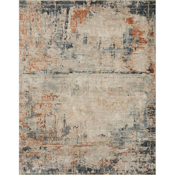 Axel Stone, Blue and Spice 9 Ft. 3 In. x 12 Ft. 10 In. Area Rug, image 1