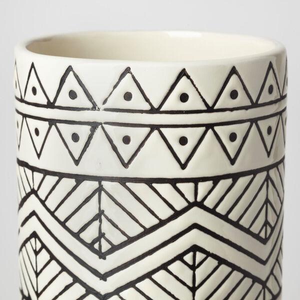 Uhura II Cream and Black Cylindrical Ceramic Vase, image 3