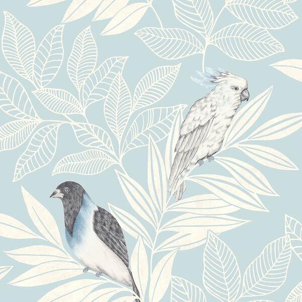 Boho Rhapsody Blue Oasis and Ivory Paradise Island Birds Unpasted Wallpaper, image 2