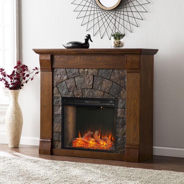 Ellkmont Salem Antique Oak Faux Stone Smart Electric Fireplace, image 4
