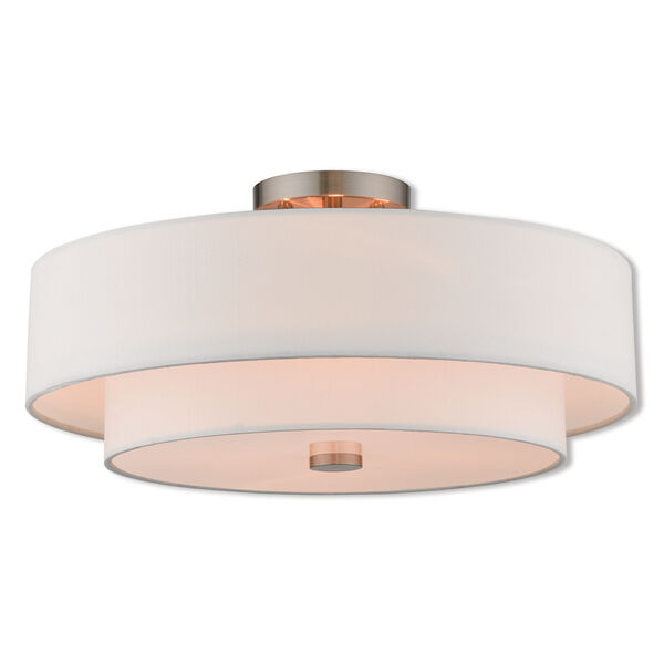 Claremont Brushed Nickel 18-Inch Four-Light Ceiling Mount, image 1