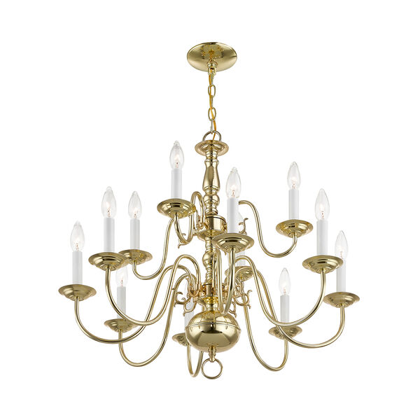 Williamsburgh Twelve-Light Polished Brass Chandelier, image 4