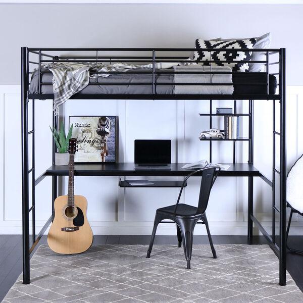 Black Metal Full Loft Bed with Workstation, image 3