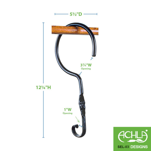 Black Powdercoat Extender with Wide Hook, Set of Two, image 2