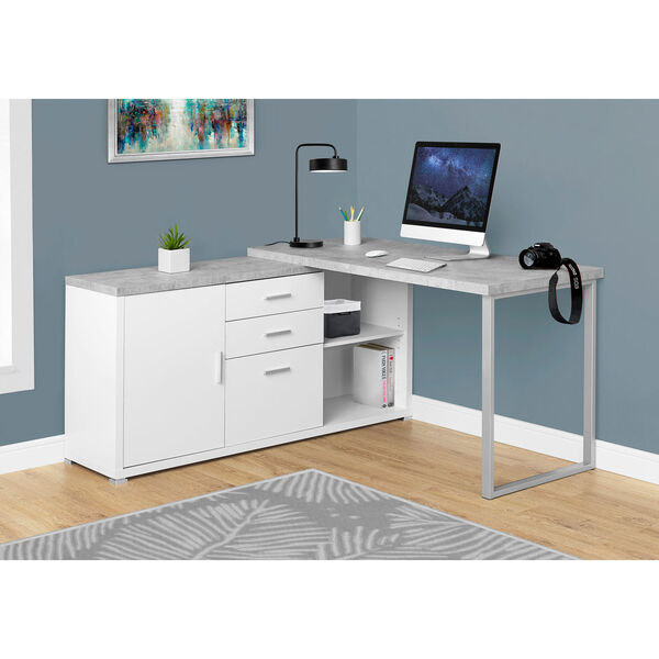White Cement-Look Left or Right Facing 60-Inch Computer Desk, image 1