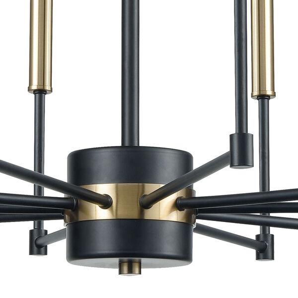 Livingston Matte Black and Satin Brass 10-Light Chandelier, image 4