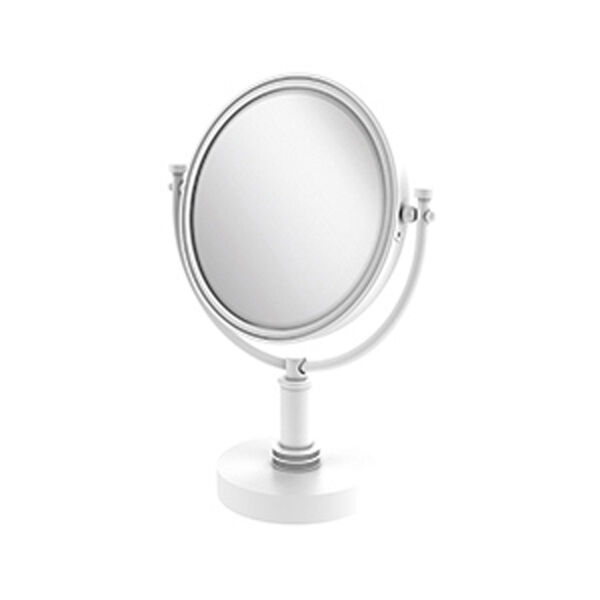 Matte White Eight-Inch Vanity Top Make-Up Mirror 2X Magnification, image 1