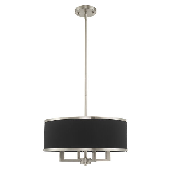 Park Ridge Brushed Nickel 18-Inch Four-Light Pendant Chandelier with Hand Crafted Black Hardback Shade, image 2