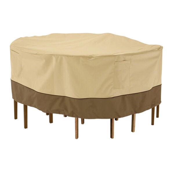 Ash Pebble and Bark Round Patio Table and Chair Set Cover, image 1