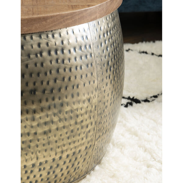Leah Gold Drum with Storage Table, image 5