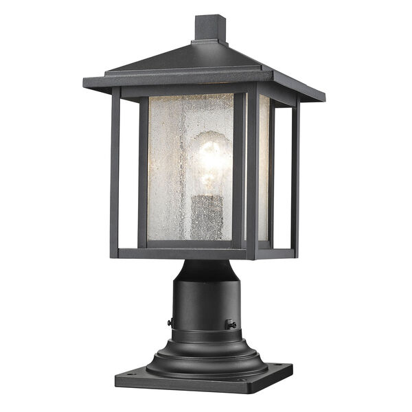 Aspen Black 17-Inch One-Light Outdoor Pier Mount Light with Clear Seedy Glass Shade, image 1