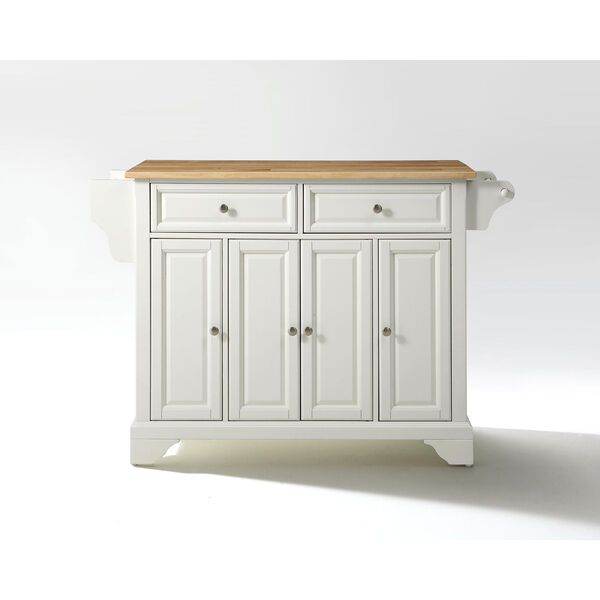 LaFayette Natural Wood Top Kitchen Island in White Finish, image 1