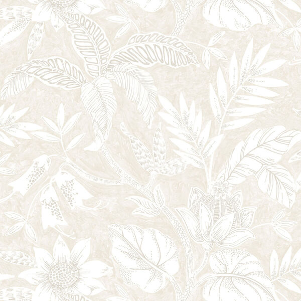 Boho Rhapsody Sand Dune and Brushed Taupe Rainforest Leaves Unpasted Wallpaper, image 2