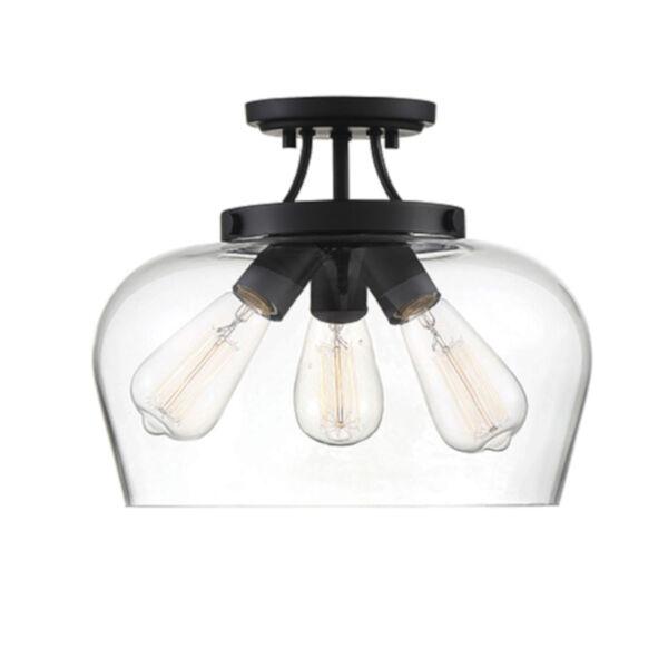Elle Black Three-Light Semi-Flush, image 1