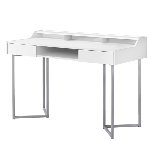 White and Silver 22-Inch Computer Desk with Three Open Cubbies, image 1