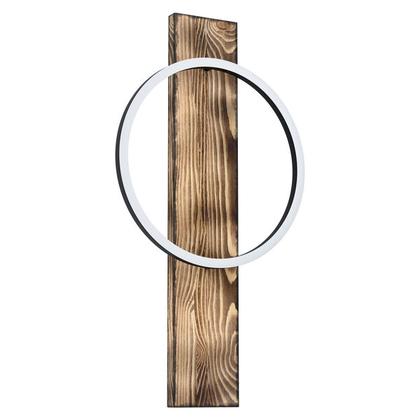 Boyal Brushed Pine Wood Integrated LED Wall Sconce, image 1