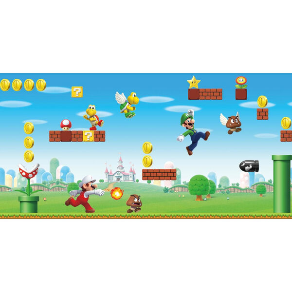 Mario Scene Peel Red, Blue And Green Peel and Stick Wallpaper, image 1