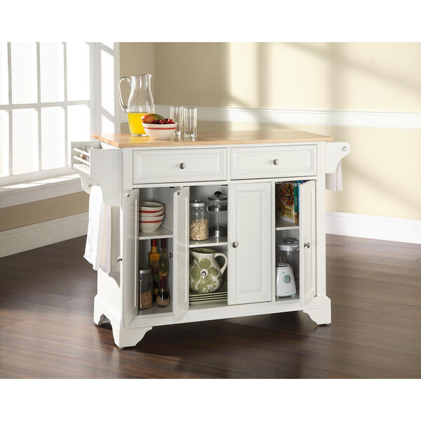 LaFayette Natural Wood Top Kitchen Island in White Finish, image 4