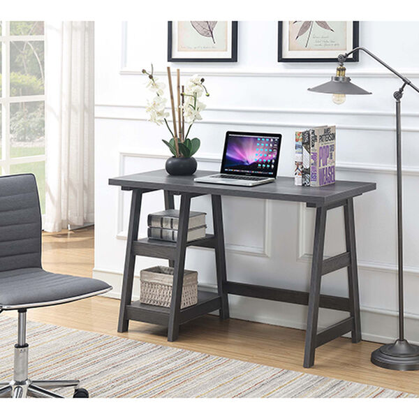 Designs2Go Charcoal Gray Trestle Desk, image 2