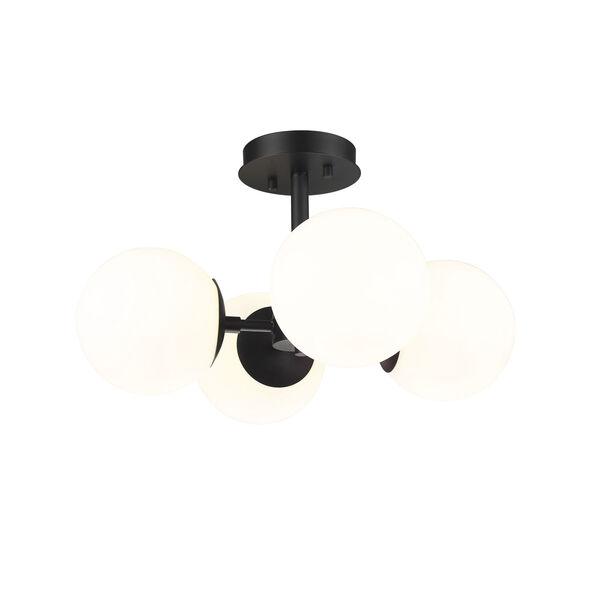 Midnetic Matte Black Four-Light Semi Flush Mount, image 1
