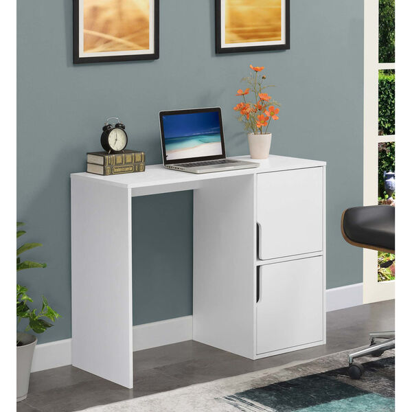 Designs2Go White Student Desk with Storage Cabinets, image 2