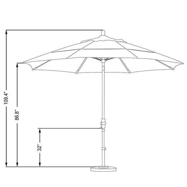 11 Foot Fiberglass Market Umbrella Collar Tilt Double Vent Matted Black/Sunbrella/Macaw, image 2