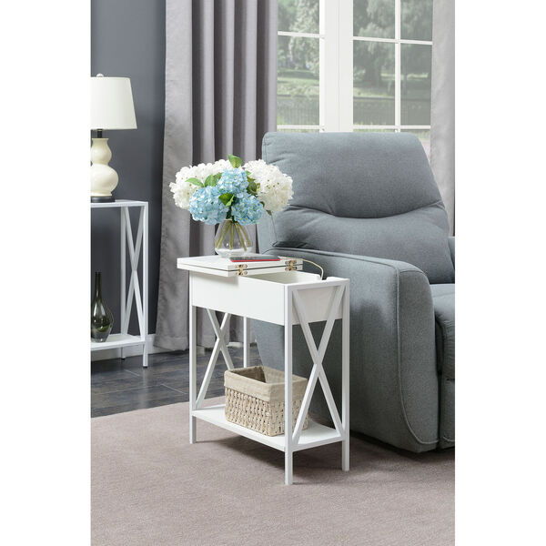 Tucson Flip Top End Table with Charging Station and Shelf, image 2