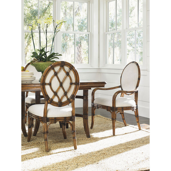 Bali Hai Brown and Ivory Gulfstream Oval Back Arm Chair, image 2