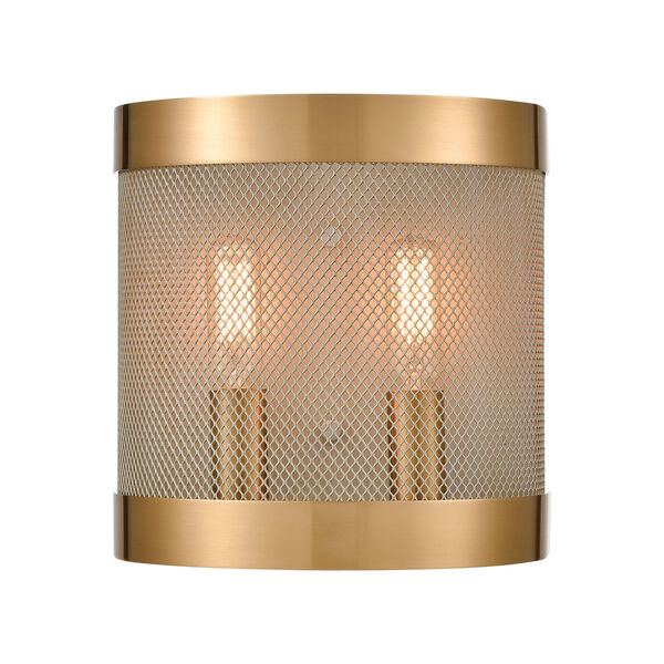 Line in the Sand Satin Brass and Antique Silver Two-Light Wall Sconce, image 1