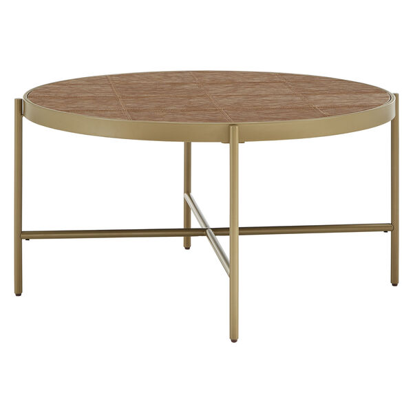 Dawson Gold and Faux Leather Coffee Table, image 1