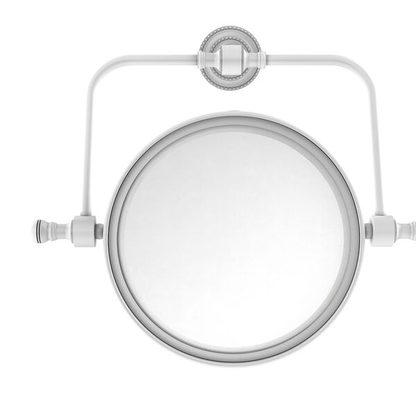 Retro Dot Matte White Seven-Inch Wall Mounted Swivel Make-Up Mirror with 5X Magnification, image 1