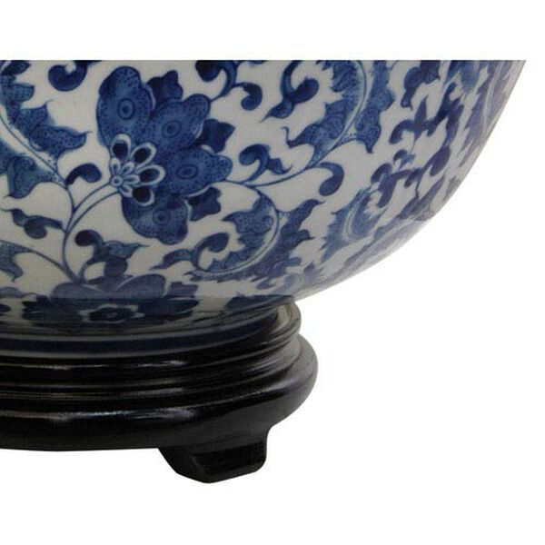14 Inch Porcelain Bowl Blue and White Floral, Width - 14 Inches, image 3