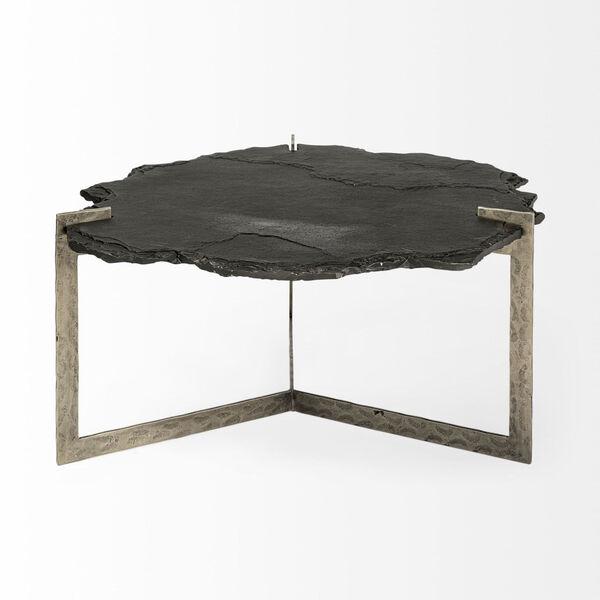 Shale II Black Irregular Live-Edge Slate Coffee Table with Flat Iron Base, image 2