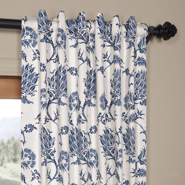 Royal Blue 84 x 50 In. Printed Cotton Twill Curtain Single Panel, image 4