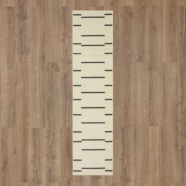 Kenza Ivory Linen Striped Runner: 2 Ft. x 6 Ft., image 2