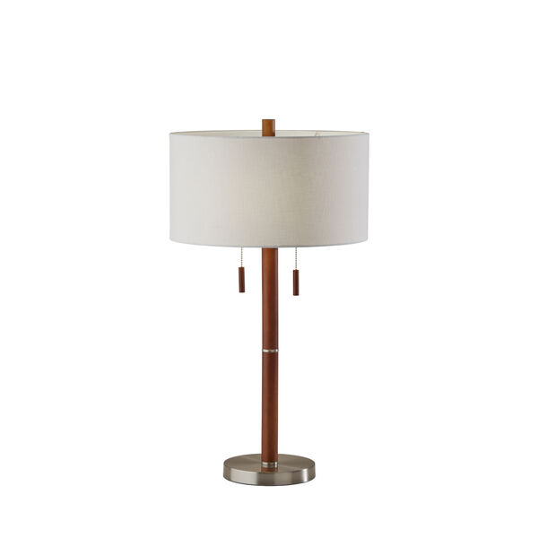 Madeline Walnut Rubberwood and Brushed Steel Two-Light Table Lamp, image 1