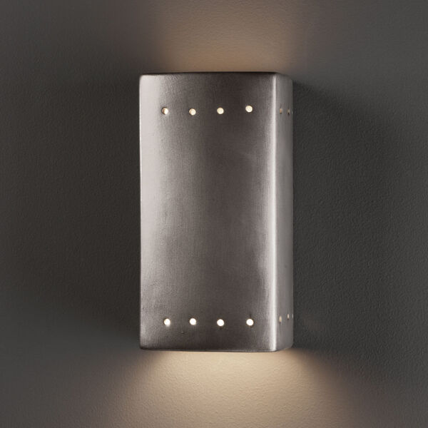 Ambiance Antique Silver Five-Inch Closed Top and Bottom LED Rectangle Outdoor Wall Sconce, image 2