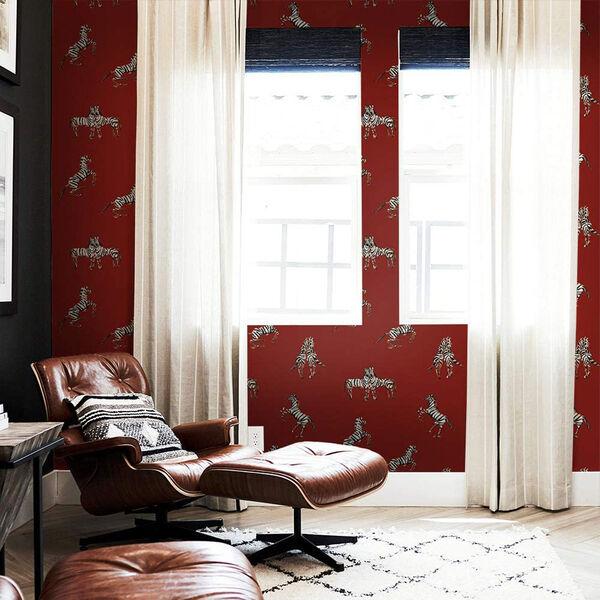 Novogratz Red Zebras in Love Love Peel and Stick Wallpaper, image 3