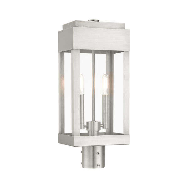 York Brushed Nickel Two-Light Outdoor Post Lantern, image 1