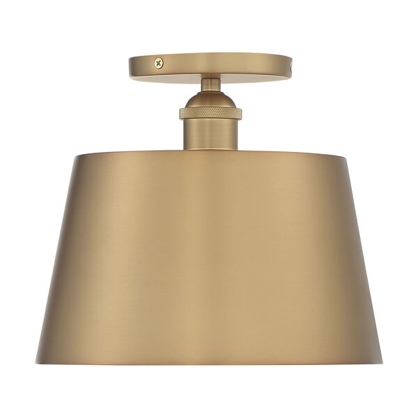 Motif Brushed Brass and White 10-Inch One-Light Semi-Flush Mount, image 3