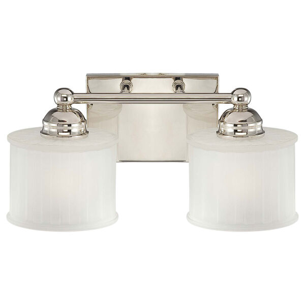 1730 Series Polished Nickel Two-Light Bath Fixture with Etched Glass, image 1