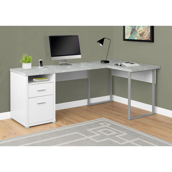 White Cement-Look Left or Right Facing Computer Desk, image 1