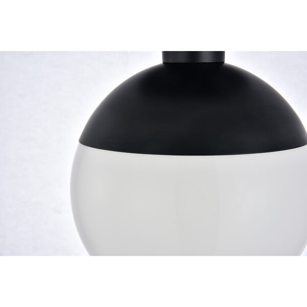 Eclipse Black and Frosted White Eight-Inch One-Light Semi-Flush Mount, image 4