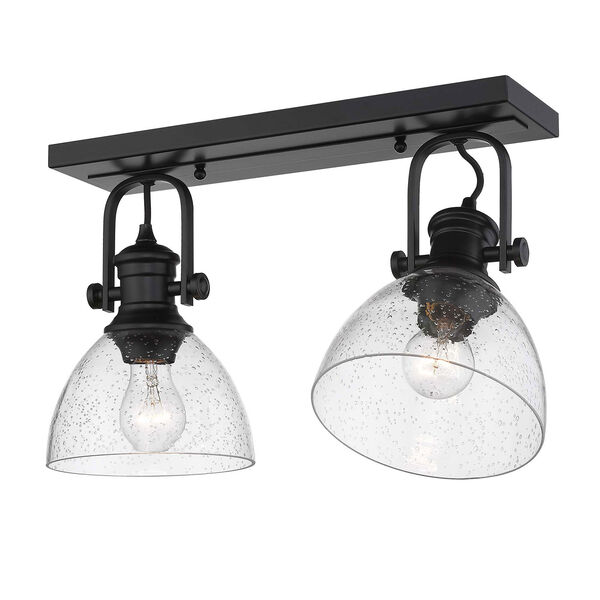 Hines Black Two-Light Semi-Flush Mount With Seeded Glass, image 2