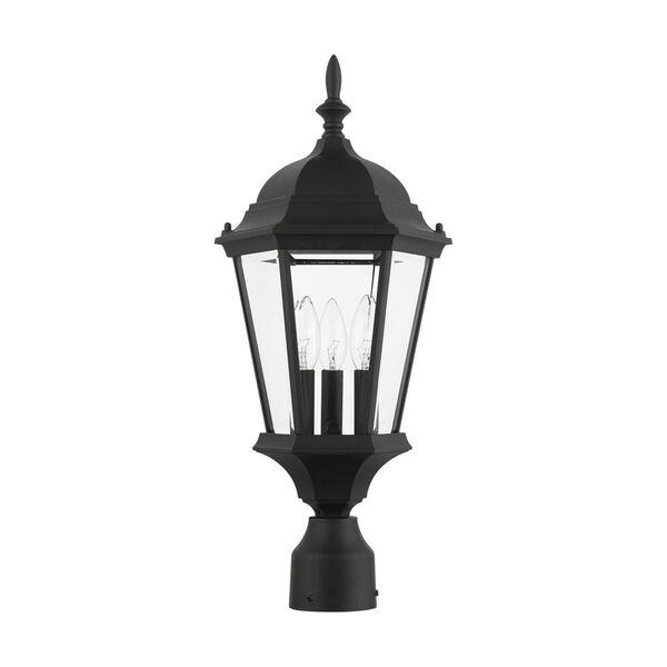 Hamilton Textured Black 10-Inch Three-Light Outdoor Post Lantern, image 2