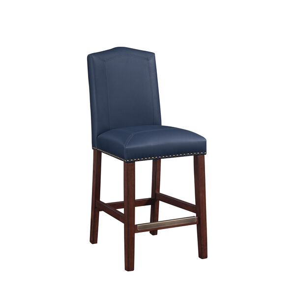Carteret Navy Faux Leather Counter Stool, image 6