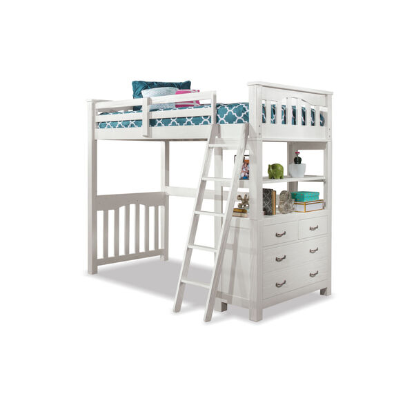 Highlands White Twin Loft Bed, image 2