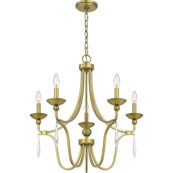 Joules Aged Brass Five-Light Chandelier, image 2